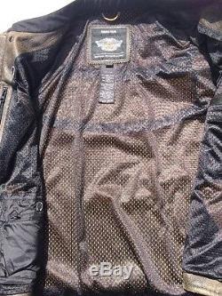 Harley Davidson Half Mile Men's Racing Leather Jacket Size XL Perforated Black