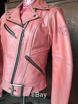 Harley Davidson Jacket Women S Small Pink Leather Biker Motor Cycle Queen Hot