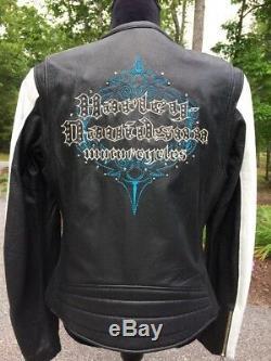 Harley Davidson KALEIDOSCOPE Women's Large White Leather Jacket Bling Black