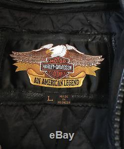 Harley Davidson Leather Jacket Mens Large Cafe Racer Zip Out Liner Motorcycle