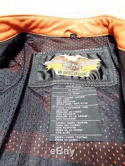 Harley Davidson Leather Racing Motorcycle Jacket Speed Orange XL 98144-03VM