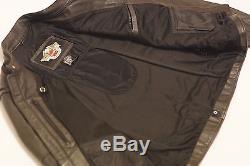 Harley Davidson Men Black Guard Reflective Leather Jacket Flames 97109-09VM 2XL