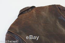 Harley Davidson Men Brown Distressed Embossed Leather Vintage 90's Jacket L Rare