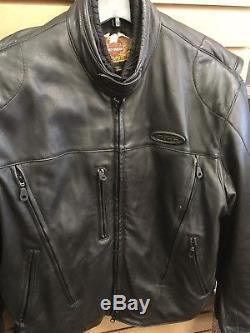 Harley Davidson Men FXRG Waterproof Pocket System Leather Jacket Size XL