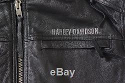Harley Davidson Men HONOR Black Leather Jacket Hood 3n1 Winged B&S XL 97077-08VM