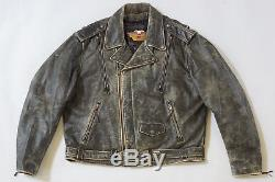 Harley Davidson Men Original Vintage EL CAMINO Distress Black Leather Jacket 2XL