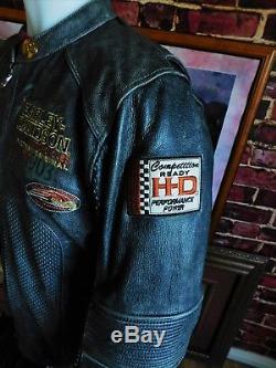 Harley Davidson Men REGULATOR Perforated Black Leather Jacket Large 97167-13VM