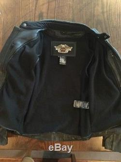 Harley Davidson Men Reflective Willie G Skull Black Leather Jacket 98099-07VM L