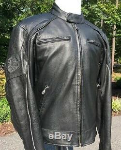 Harley Davidson Men Reflective Willie G Skull Black Leather Jacket Large