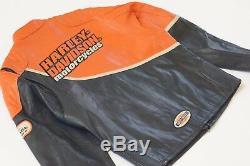 Harley Davidson Men Speed Black Orange Leather Jacket Racing 2XL Rare 98144-03VM