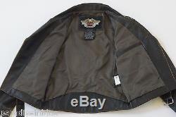 Harley Davidson Men USA Made Embossed Eagle Brown Riding Leather Jacket M L Rare