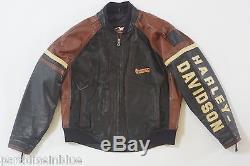 Harley Davidson Men Vintage USA Made Cruiser Bomber Leather Jacket Emboss B&S L
