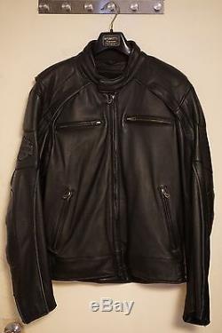Harley Davidson Men Willie G Reflective Skull Black Leather Jacket Size L