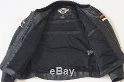 Harley Davidson Men's Amstrong Black Orange Classic Leather Jacket XL 97000-08VM
