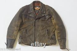 Harley Davidson Men's Billings Distressed Brown Leather Jacket Winged HD Logo XL