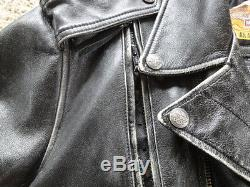 Harley Davidson Men's Black Distressed Leather Vintage Jacket Large