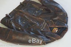Harley Davidson Men's Brown Distressed Leather Vintage Jacket D-Pocket L Rare