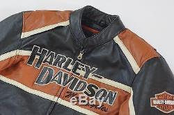 Harley Davidson Men's Classic Cruiser Orange Black Leather Jacket M 98118-08VM