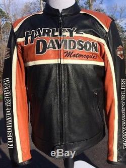 Harley Davidson Men's Classic Cruiser Orange Leather Jacket Large Armored Racing