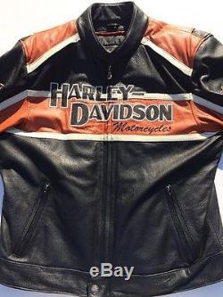 Harley Davidson Men's Classic Cruiser Orange Leather Jacket XL Racing Black B&S