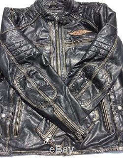 Harley-Davidson Men's DETONATOR Triple Vent Black Leather Jacket 98076-15VM XL