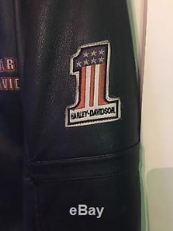 Harley Davidson Men's Distressed Leather Riding Jacket withRemovable Lining XL