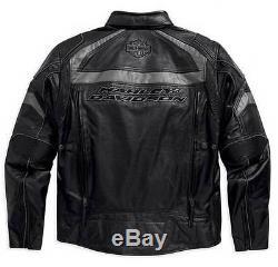 Harley Davidson Men's MEDALLION Reflective Black Leather Jacket XL 98077-15VM