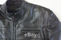 Harley Davidson Men's ORIGINAL COMPETITION Black Leather Jacket L Body Armor