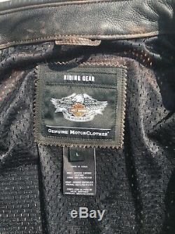 Harley Davidson Men's ROADWAY Brown Distressed Leather Jacket 98002-11V Large