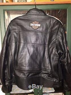 Harley Davidson Men's Rare Torque Orange Stripes Black Leather Jacket Large (XL)
