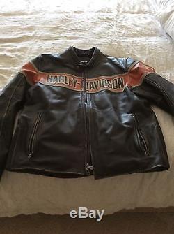 Harley Davidson Men's Victory Lane Classic B&S Black Leather Jacket XL