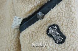 Harley Davidson Men's Vintage 90's Shearling Black Leather BOMBER Jacket Rare XL