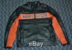 Harley Davidson Mens Black Orange Classic Riding Leather Jacket