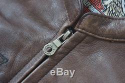 Harley Davidson Mens DEADWOOD Convertible Brown Leather Jacket Vest S 97148-10VM