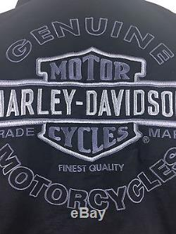 Harley Davidson Mens Jacket Size L Black 2 In 1 Hoodie With Large Logo On Back