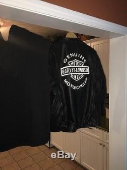 Harley Davidson Mens Large Road Warrior Leather 3 in 1 Motorcycle Jacket