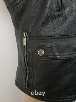 Harley Davidson Mens Medium Leather Embroidered Eagle Vented Racer Jacket