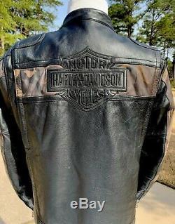 Harley-Davidson Mens NIGHTFALL Camo Leather Jacket 97036-08VM Large Camouflage