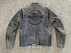 Harley Davidson Mens ROADWAY Distress Brown Leather Jacket Medium 98002-11VM