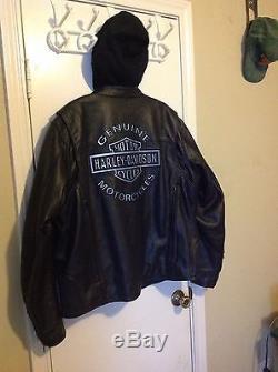Harley-Davidson Mens Reflective Road Warrior 3/1 Black Leather Motorcycle Jacket