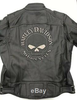 Harley Davidson Mens Reflective Willie G Skull Black Leather Jacket 4XL
