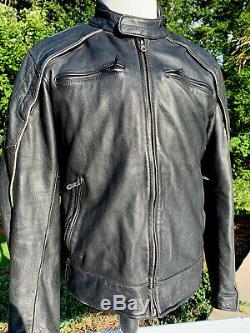 Harley Davidson Mens Reflective Willie G Skull Black Leather Jacket Large