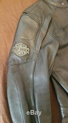 Harley Davidson Mens Reflective Willie G Skull Black Leather Jacket XL