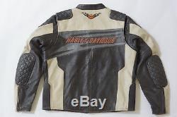 Harley Davidson Mens Sprocket Racing Off-White Leather Jacket Race XL 97117-12VM