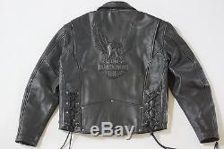 Harley Davidson Mens Vintage Cruiser Embossed Eagle Black Leather Jacket L Rare