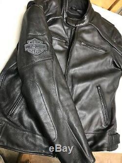 Harley Davidson Mens Willie G Reflective Skull Leather Jacket 98099-07VM Large