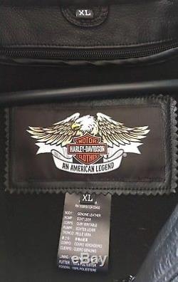 Harley Davidson Mens Willie G. Reflective Skull Leather Jacket XL