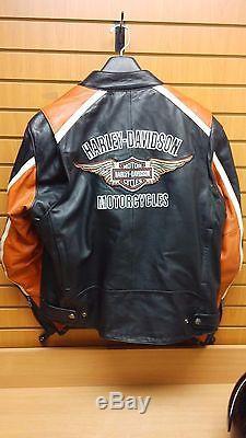 Harley Davidson Motorcycle Riding Jacket + Matching Helmet Mens XL Orange/Black