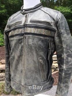 Harley Davidson PASSING LINK Triple Vent Distressed Leather Jacket Men's Large