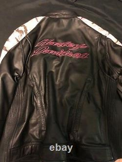 Harley Davidson Pink Camo 3N1 Leather/ hoodie Jacket Women's Large Hoodie Black